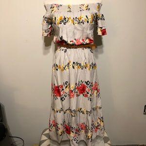 Boho-Gray Floral Print Cold Shoulder Dress- Size M